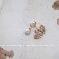 羽扇14K包金扇子形耳坠温柔锆石珍珠耳环耳饰耳钉气质韩国个性女 带珍珠耳堵,一对