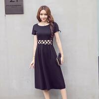 夏季新款女装时尚镂空性感裙修身显瘦短袖中长款黑色连衣裙潮