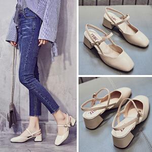 ZHR2018夏季新款一字扣带高跟鞋韩版凉鞋奶奶鞋包头鞋子粗跟女鞋F77