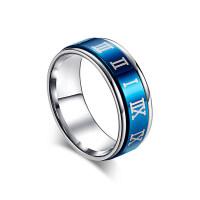 转动罗马数字时间戒指男士韩版钛钢食指环戒子个性潮男尾戒饰品