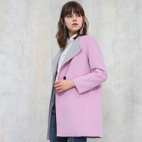 冬装新品圆领双面呢大衣宽松羊毛外套Y641241D0