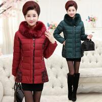 中年人棉袄女胖妈妈羽绒中长款加厚50岁40加肥加大码保暖韩版