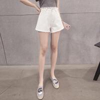 牛仔短裤女士夏季潮流毛边高腰女学生宽松阔腿热裤显瘦a字白色裤子