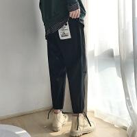 2018秋冬新款男士潮流哈伦裤休闲长裤男束脚裤个性黑色收脚裤