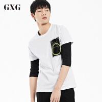 GXGT恤男装 夏季男士时尚修身青年休闲都市流行白色圆领短袖T恤男