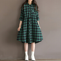 棉麻连衣裙2017秋季新款复古宽松收腰显瘦绿色格子长袖衬衫裙子女