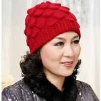 中老年女士帽子双层加厚毛线针织鱼鳞兔毛帽妈妈帽 秋冬老人帽女