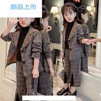 童装女童春装套装2018新款儿童西服小女孩洋气韩版格子西装两件套