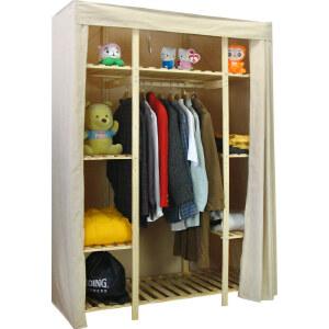 【每满100-50】宜哉 132宽 松木实木简易衣柜 简易布衣橱柜 收纳柜 大衣柜
