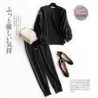宽松圆领上衣+松紧高腰萝卜裤 女士休闲卫衣套装裤E8/5/94