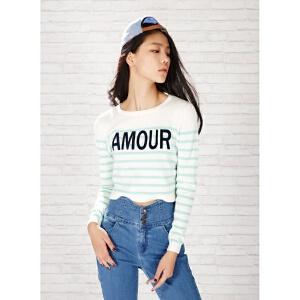 美特斯邦威女装海军条纹图案毛衣针织衫218957