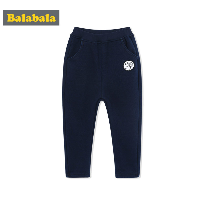 巴拉巴拉男童加绒长裤童装宝宝裤子秋冬新款小童儿童加厚外裤