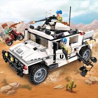 启蒙3205维和部队系列武装悍马的反攻 拼装积木儿童玩具