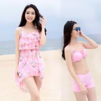 韩国新款比基尼三件套泳装罩衫大胸小胸钢托聚拢bikini温泉泳衣女
