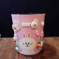 创意桌面垃圾桶家用无盖抗摔儿童杂物桶卡通可爱小号多功能收纳桶 粉红色 可妮兔