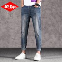 Lee Cooper春夏季九分薄款休闲小脚裤磨白做旧青年男裤简约男士牛仔裤