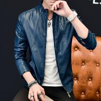 男士皮衣秋季新款夹克青年休闲上衣男装时尚潮流男式修身外套