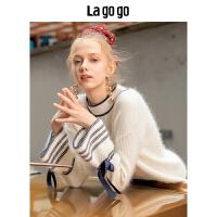 【清仓3折价197.7】Lagogo2019冬季新款半高领毛衣白色上衣长袖针织衫女HCMM438G81