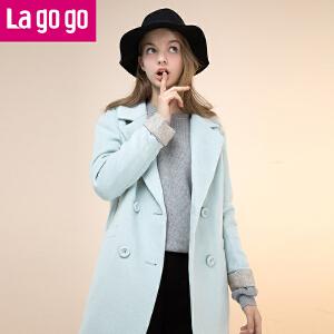 拉谷谷冬季新款时尚口袋双排扣大衣