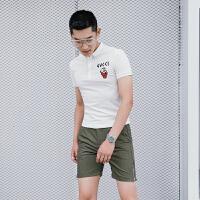 绅士翻领动物刺绣修身POLO衫 男装夏季潮牌T恤韩版英伦上衣