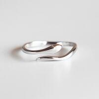 灵动小蛇S925纯银电镀白金亮面戒指女指环学生手工银饰女