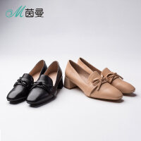 N茵曼女鞋18年新夏方头蝴蝶结粗跟高跟鞋浅口英伦单鞋4883012080