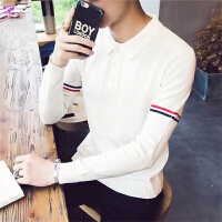 2017春季时尚潮流毛衣男韩版修身青年POLO领针织衫休闲长袖线衫