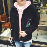 新款2018春季 港仔字母绣花男士夹克衫韩版男青年纯色上衣外套 潮