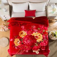 大红毛毯加厚双层冬季拉舍尔毛毯单人双人结婚庆大红盖绒毯被子