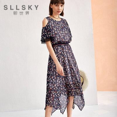 ②熙世界2018夏季新款裙装圆领拼接短袖冷淡风连衣裙长裙女LL027