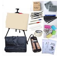 升级版初学者素描套装工具绘画素描纸本铅笔画架画板画袋 21件套装