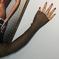 秋季纱网打底衫女长袖蕾丝上衣金丝银丝时尚镂空网纱黑色蕾丝衫 均码