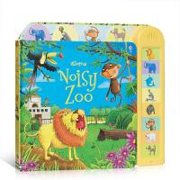 英文原版 Noisy Zoo 闹闹音乐书:动物园 儿童英语启蒙大开纸板有声书 动物是如何发声的 触碰按钮即可发声 锻炼