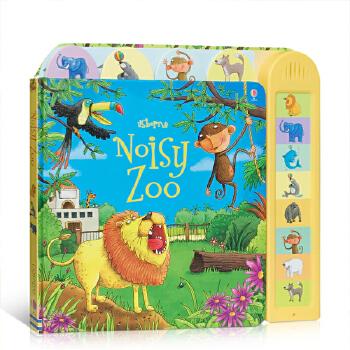 英文原版 Noisy Zoo 闹闹音乐书:动物园 儿童英语启蒙大开纸板有声书 动物是如何发声的 触碰按钮即可发声 锻炼宝宝小手肌肉3-6岁