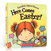英文原版 Here Comes Easter! 硬页触摸书 纸板书 节日节庆绘本 复活节绘本 Caroline Jay