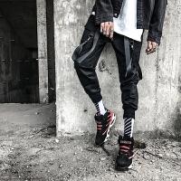 新款男士韩版修身小脚休闲裤男裤子个性工装裤潮流另类飘带长裤夜