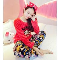 珊瑚绒睡衣秋冬季女卡通学生甜美可爱加厚家居服套装法兰绒秋季 红色