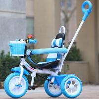 儿童三轮车幼儿童车宝宝脚踏车1-3-5岁小孩自行车婴儿手推车 蓝色 三合一