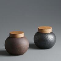 密封茶叶罐 灰念鎏金釉陶瓷茶盒普洱茶仓醒茶罐