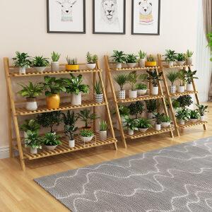幽咸家居 花架子楠竹落地式室内植物折叠多层阳台客厅多肉花盆架