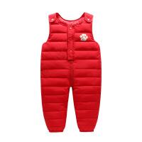 新款儿童装羽绒棉背带连体裤宝宝加厚裤子外穿男童女童冬装棉裤