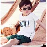男童夏装短袖T恤纯棉2018新款儿童中大童韩版半袖白色体恤潮童装