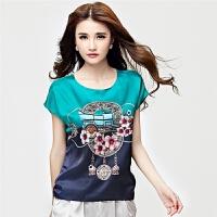 韩版夏装新款 真丝上衣女士T恤印花宽松大码短袖上衣气质修身小衫