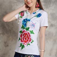 中国风绣花上衣夏装民族风女装新款刺绣短袖t恤女大码打底衫