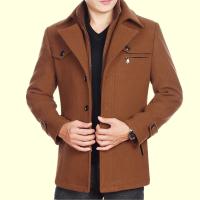 秋冬季中老年男士毛呢外套中年男尼子大衣加厚爸爸装羊毛妮夹克土