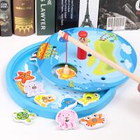 木质磁性小孩鱼游戏一岁半婴幼儿童宝宝智力动手玩具1-2-3周