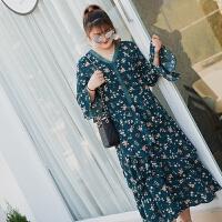 胖MM连衣裙荷叶边长袖裙子加大码女装宽松喇叭袖长裙秋冬打底裙