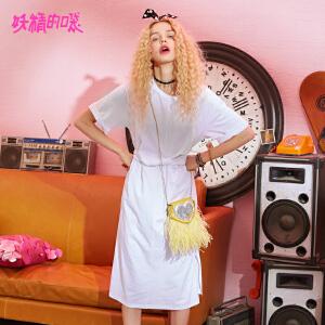 【2件3折到手价:99】妖精的口袋欧货裙子新款纯色系带学生chic短袖连衣裙女