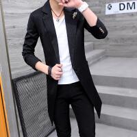 男士大衣中长款风衣2018春季新款青年学生韩版潮帅气男装休闲外套 黑色 HB1702款