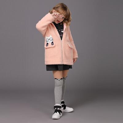 【满200减100】米奇丁当童装2017冬季女童外套 新品卡通休闲长款毛毛外套